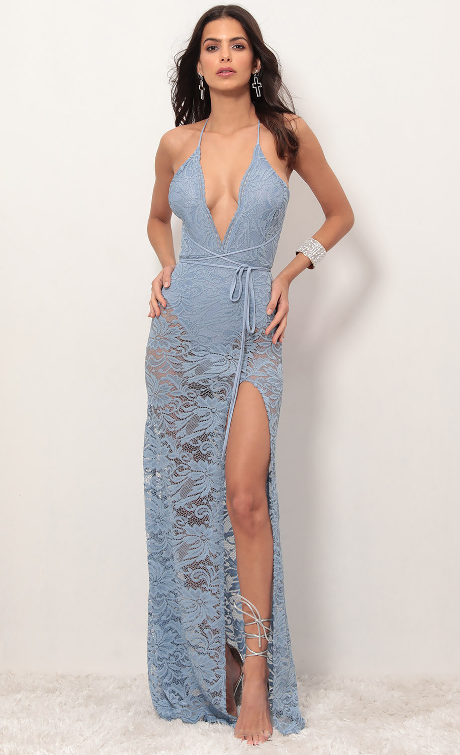 Daniela Plunge Lace Maxi Dress in Blue