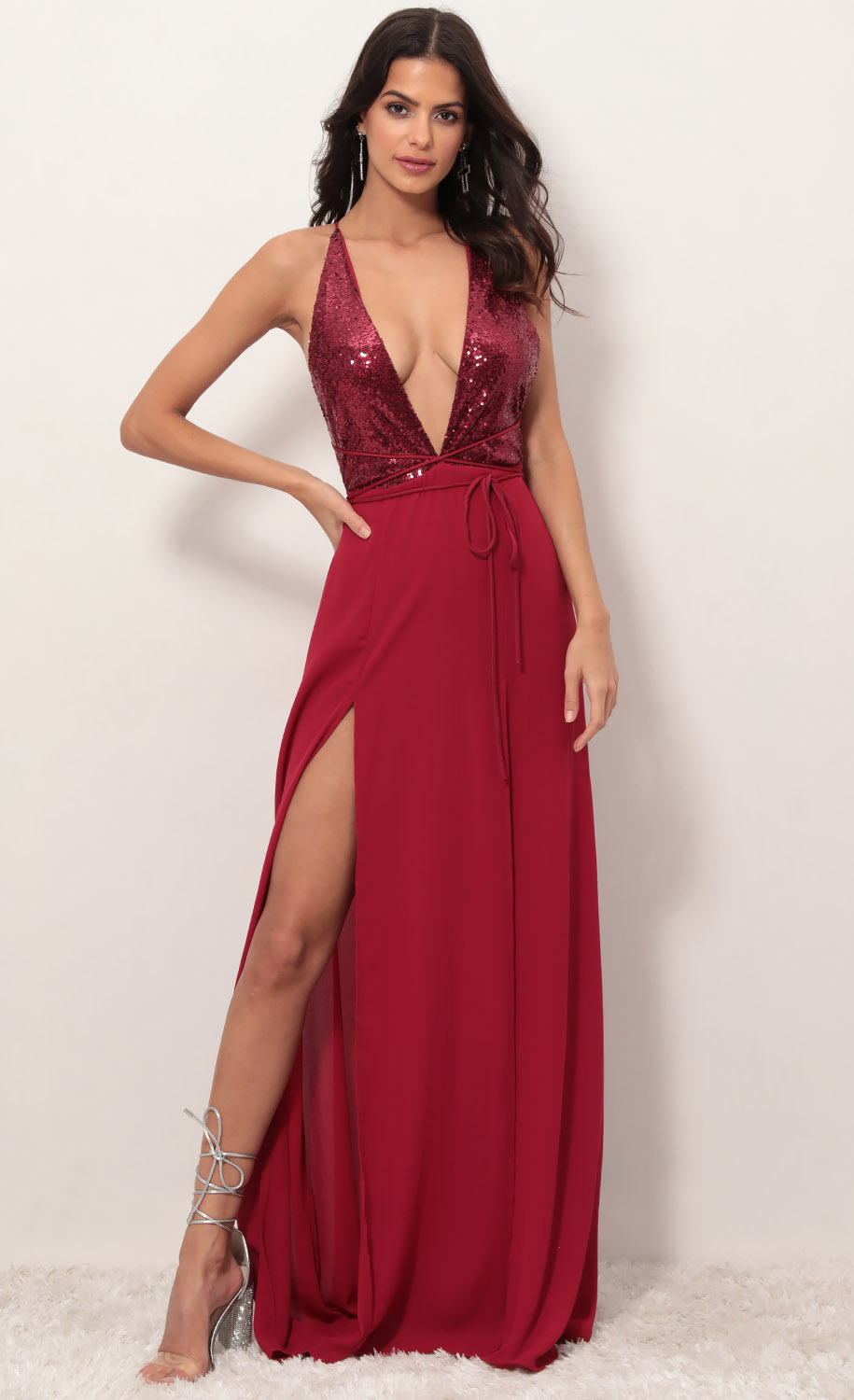Allure Sequin Maxi Dress in Merlot