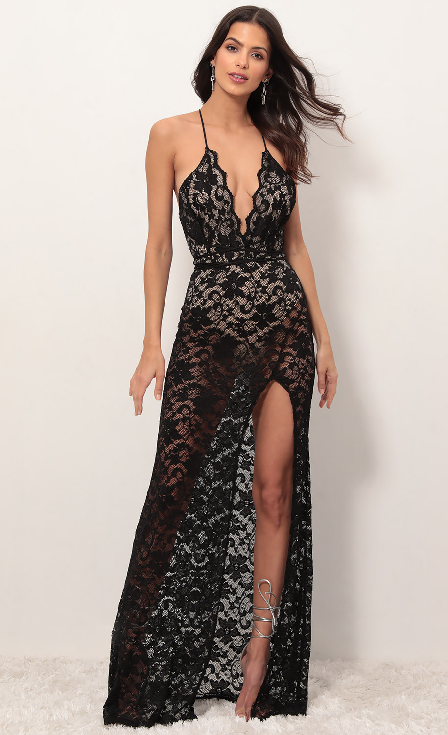 Daniela Plunge Lace Maxi Dress in Black