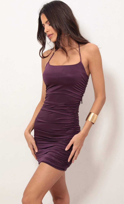 Finest Hour Ruched Dress in Violet