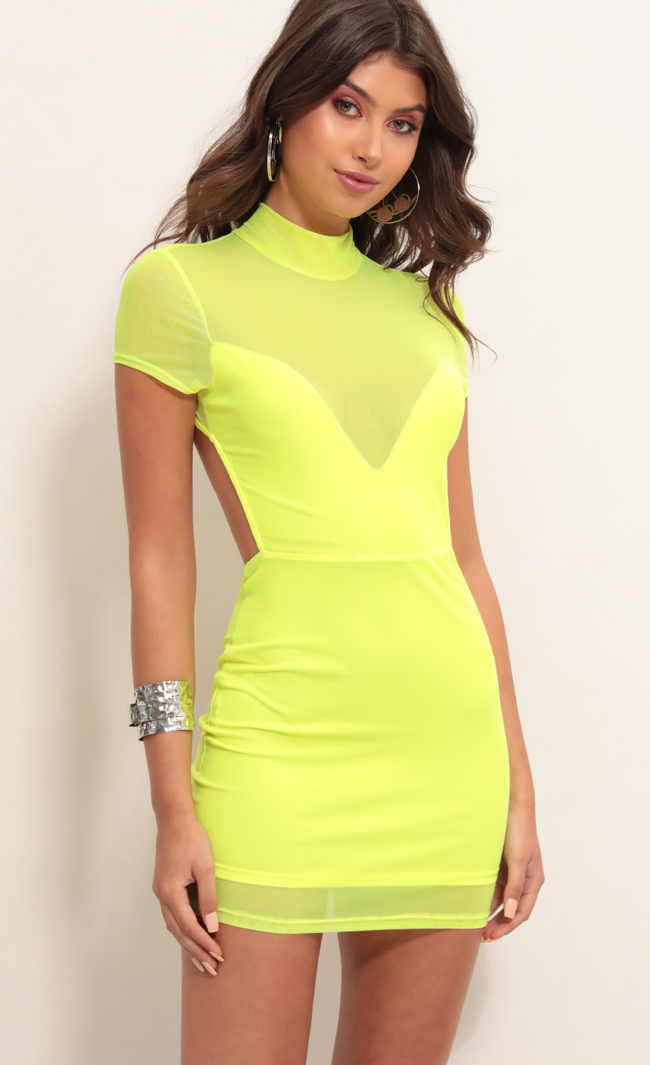 Callie Open Back Mesh Dress in Neon Yellow