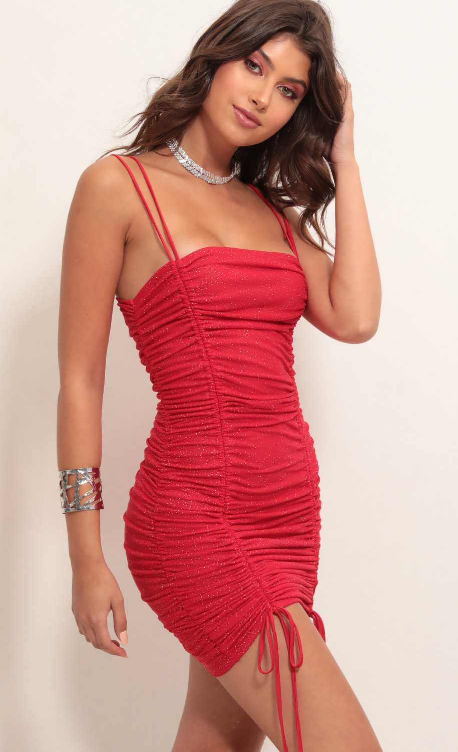 Double Trouble Ruched Dress in Red Shimmer
