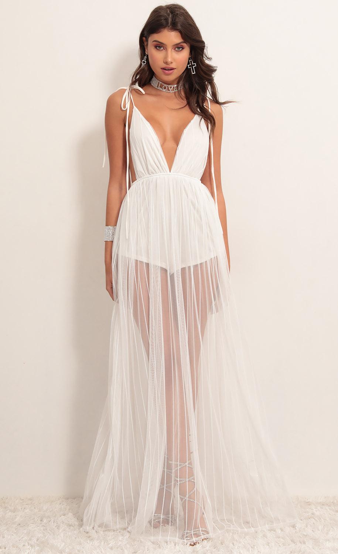 Skylar Love Ties Maxi Dress in White Stripes