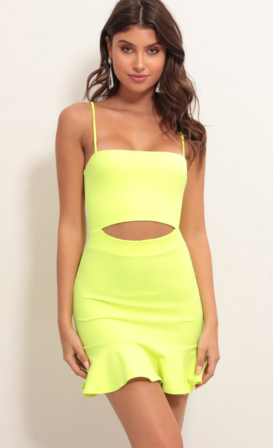 Reilly Cutout Ruffle Dress in Neon Yellow