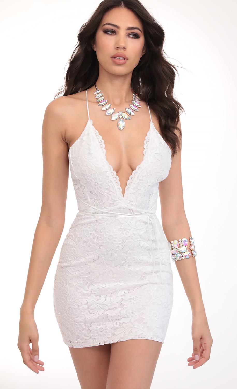 Daniela Plunge Lace Dress in White Shimmer