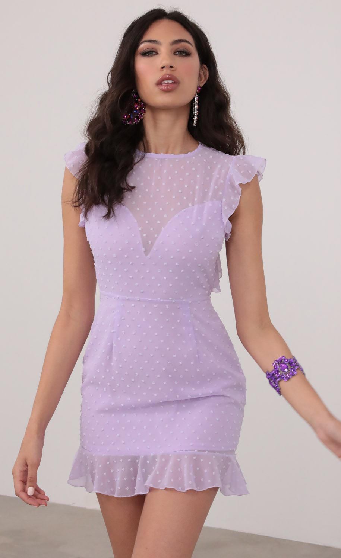Open Back Babydoll Dress In Lavender Dots
