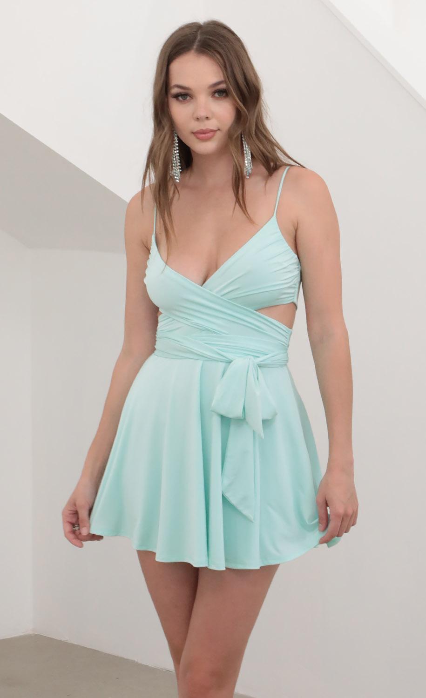 Colette Wrap Cutout Dress in Aqua