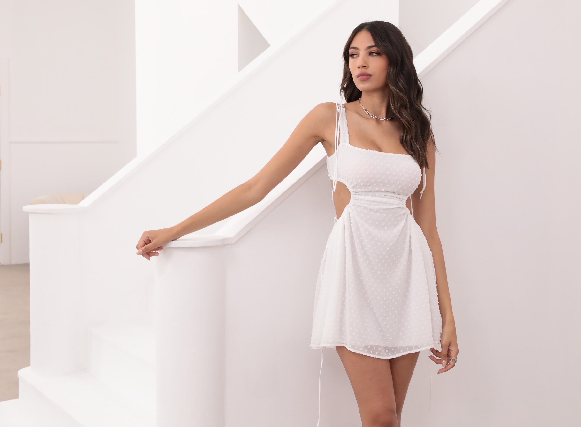 Ashley Cut Out Dress in White Dotted Chiffon