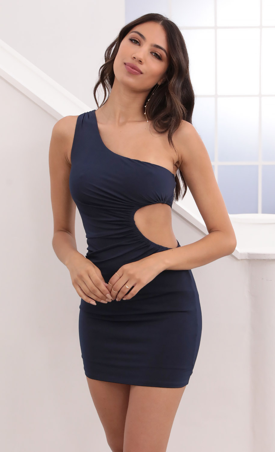 London One Shoulder Cut-Out Dress in Navy