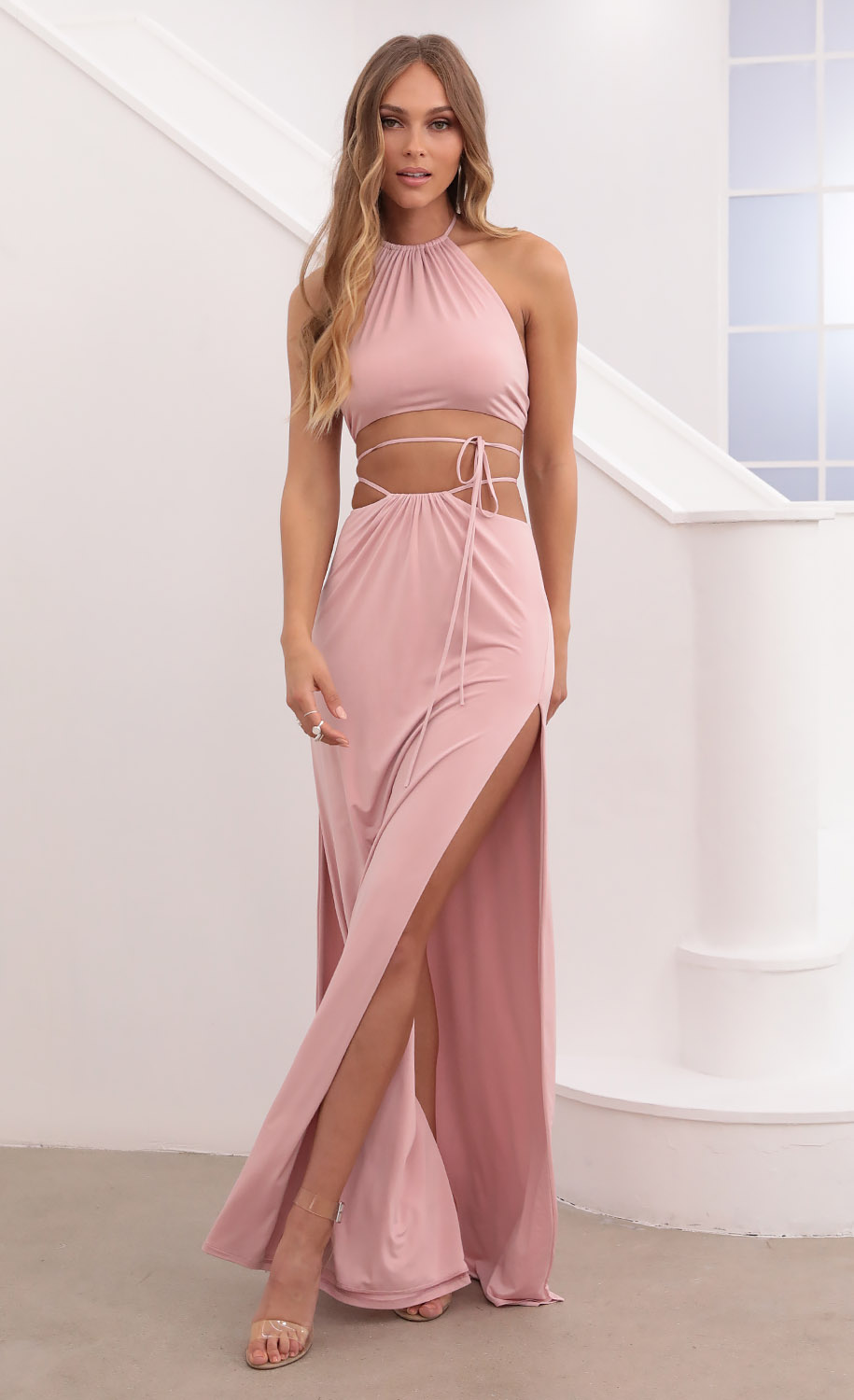Artemis Ruched Halter Set in Dusty Pink