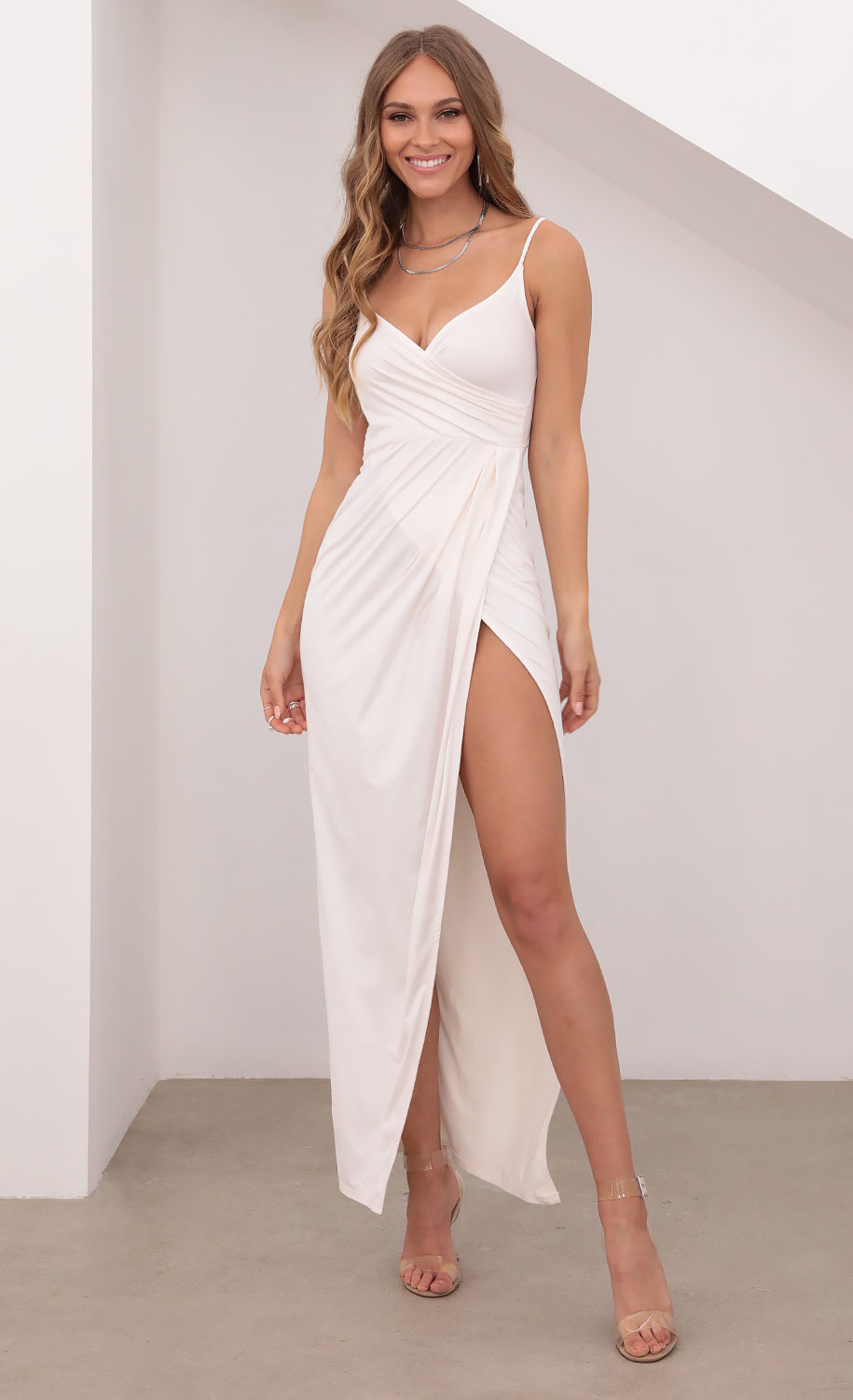 Beauty And Grace Suede Maxi in Ivory