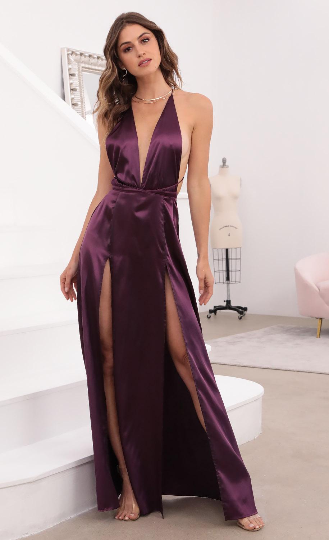 Flashing Lights Maxi Dress in Purple Satin