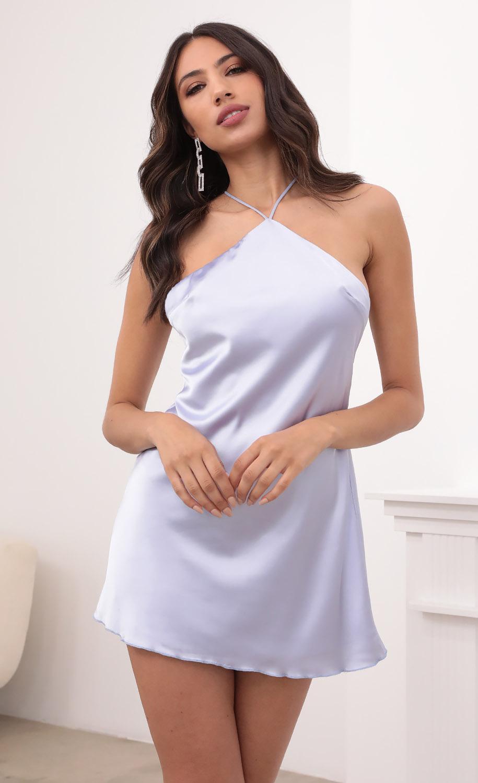 Liliana Halter Satin Slip Dress in Lavender