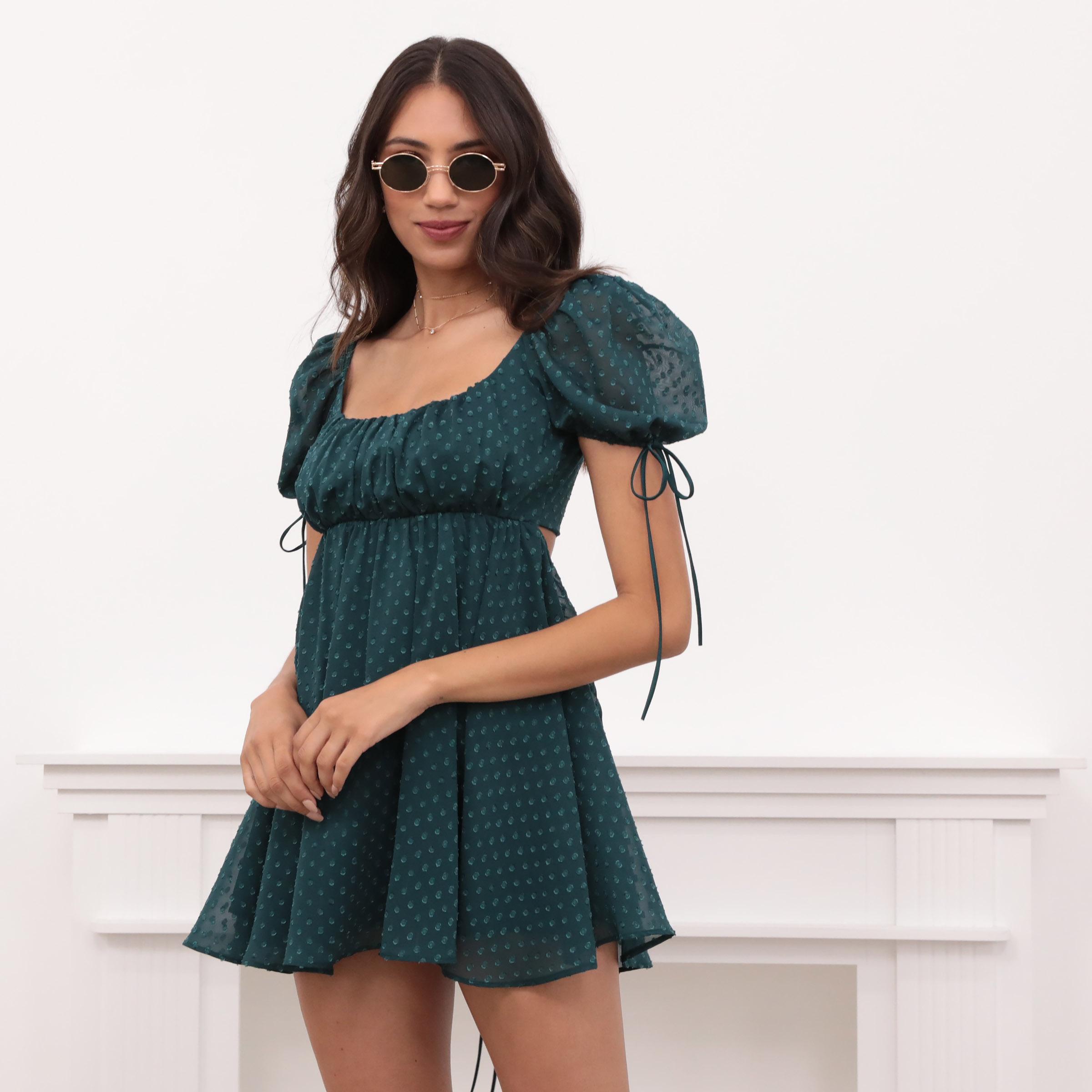 Leilani Dotted Chiffon Babydoll Dress in Hunter Green