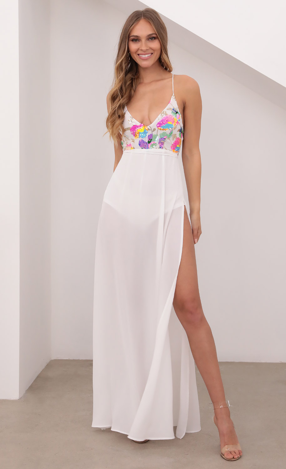 Kaylen Multicolor Sequin Maxi Dress in White