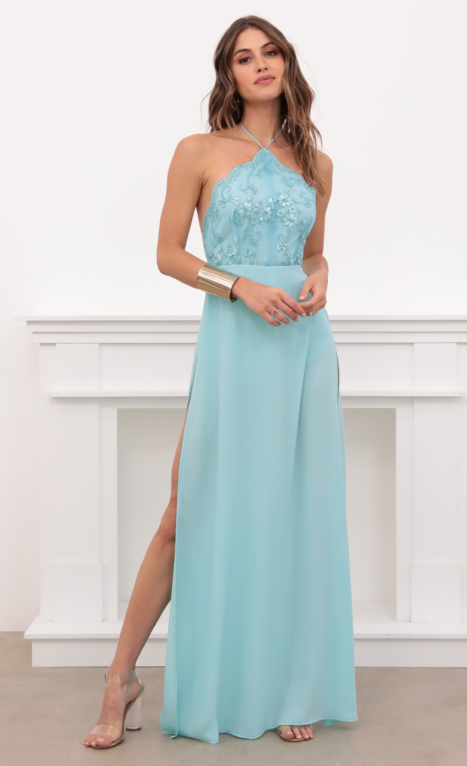 Coralynn Halter Lace Dress in Aqua