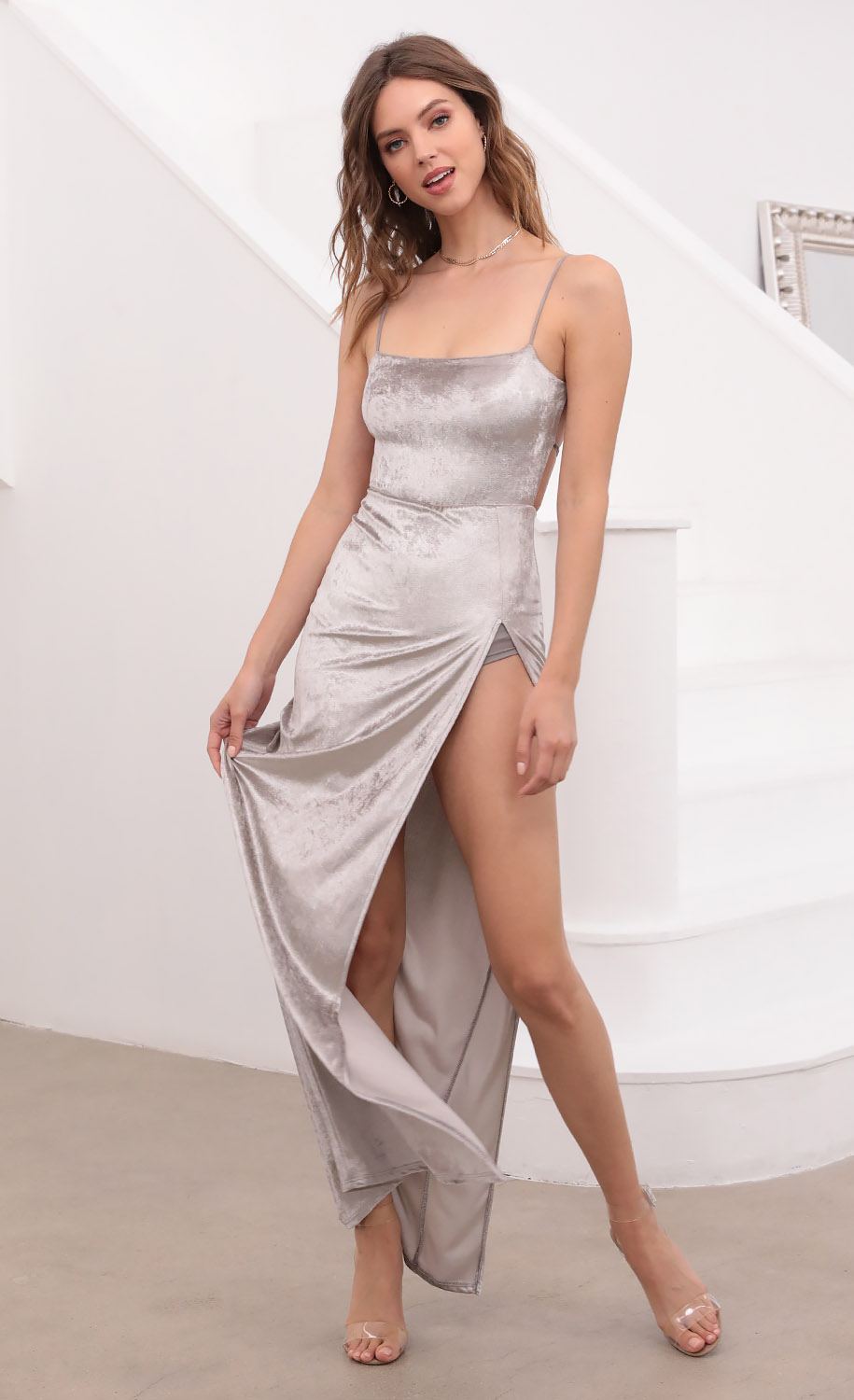 Giana Crushed Velvet Maxi in Pearl Gray