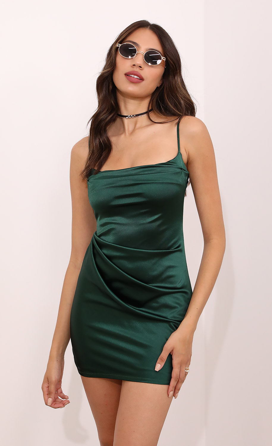 Ruby Draped Bodycon Dress in Hunter Green