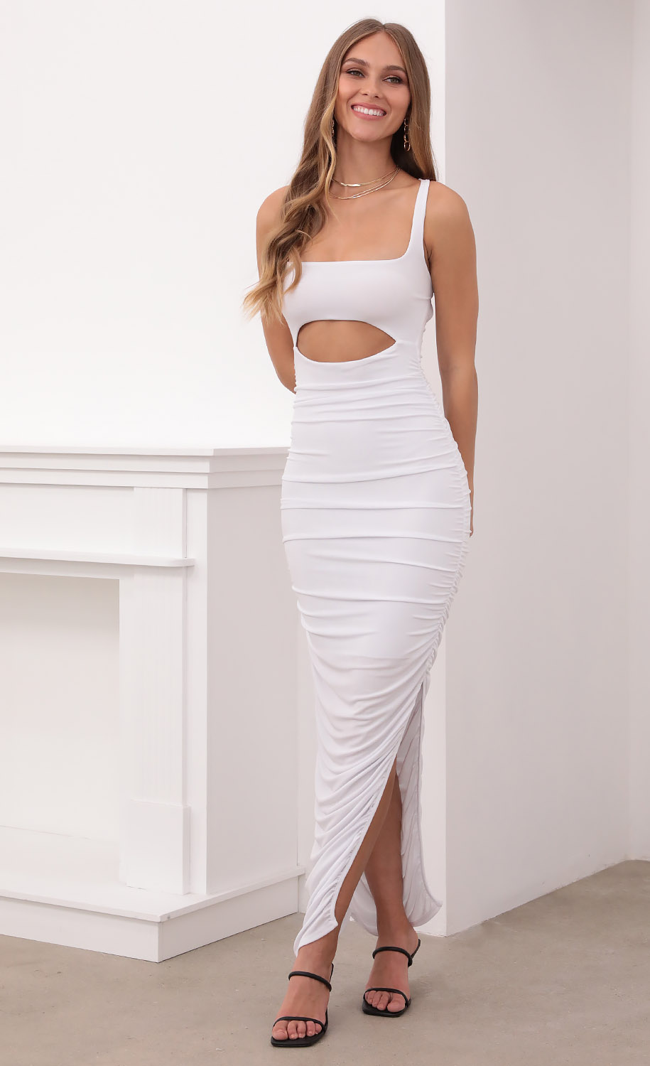 Adriana Ruched Cutout Maxi in White