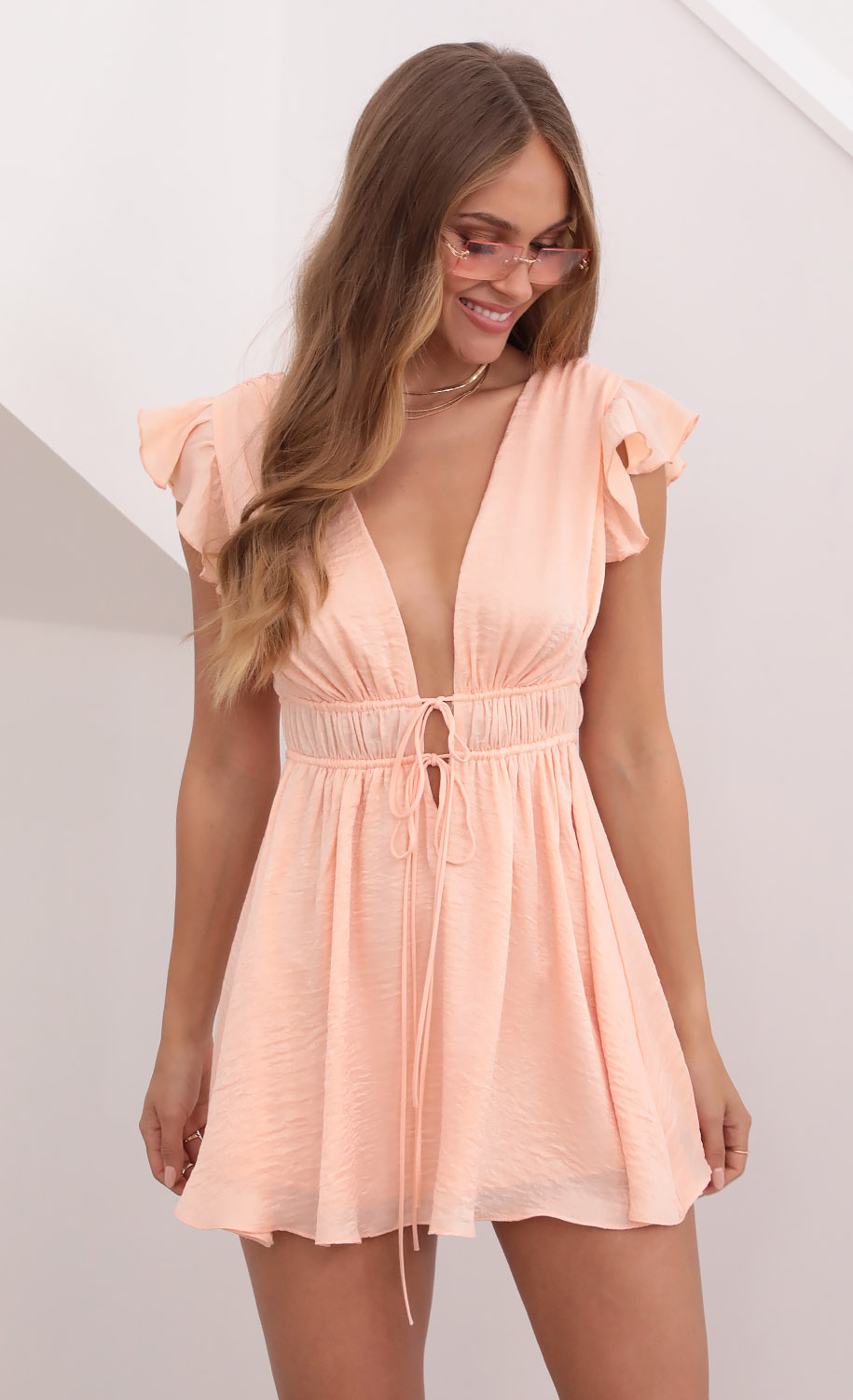 Vivian Washed Satin Plunge A-line Dress in Coral
