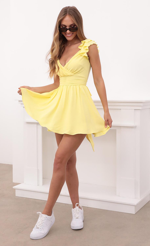 Linnett Ruffle Sleeve Dress in Yellow