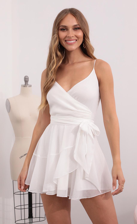 Ava Wrap Dress in White Shimmer