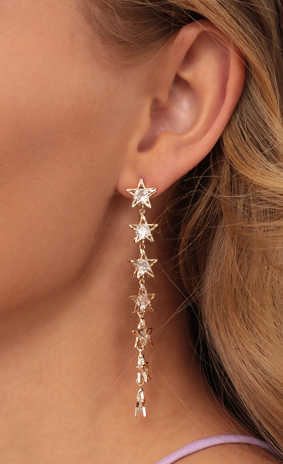 Star Cascade Earrings in Gold
