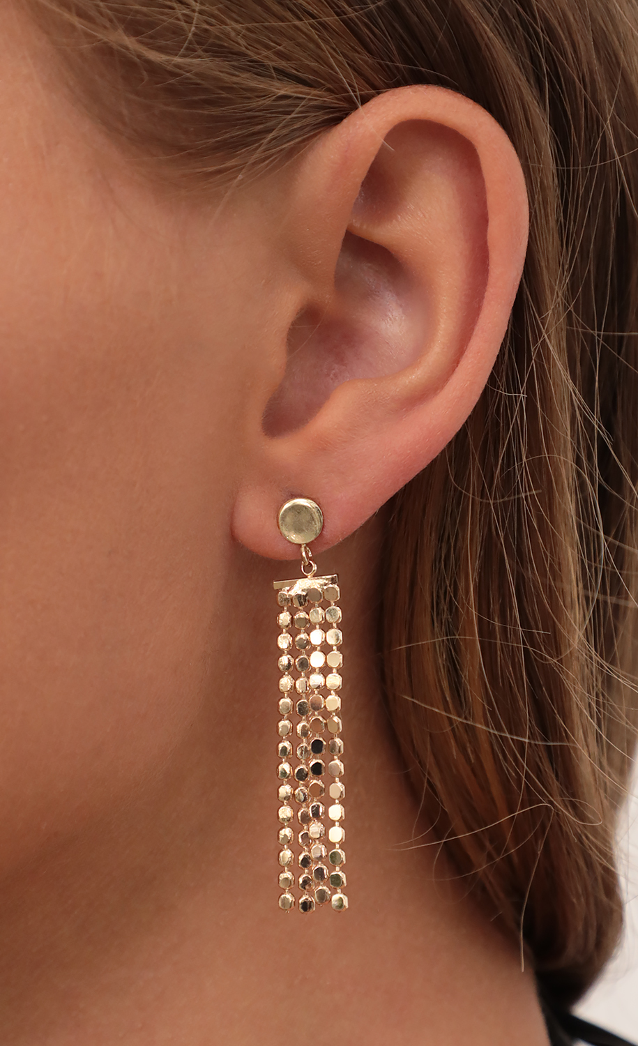 Multi Beaded Chain Drop Earrings in Gold