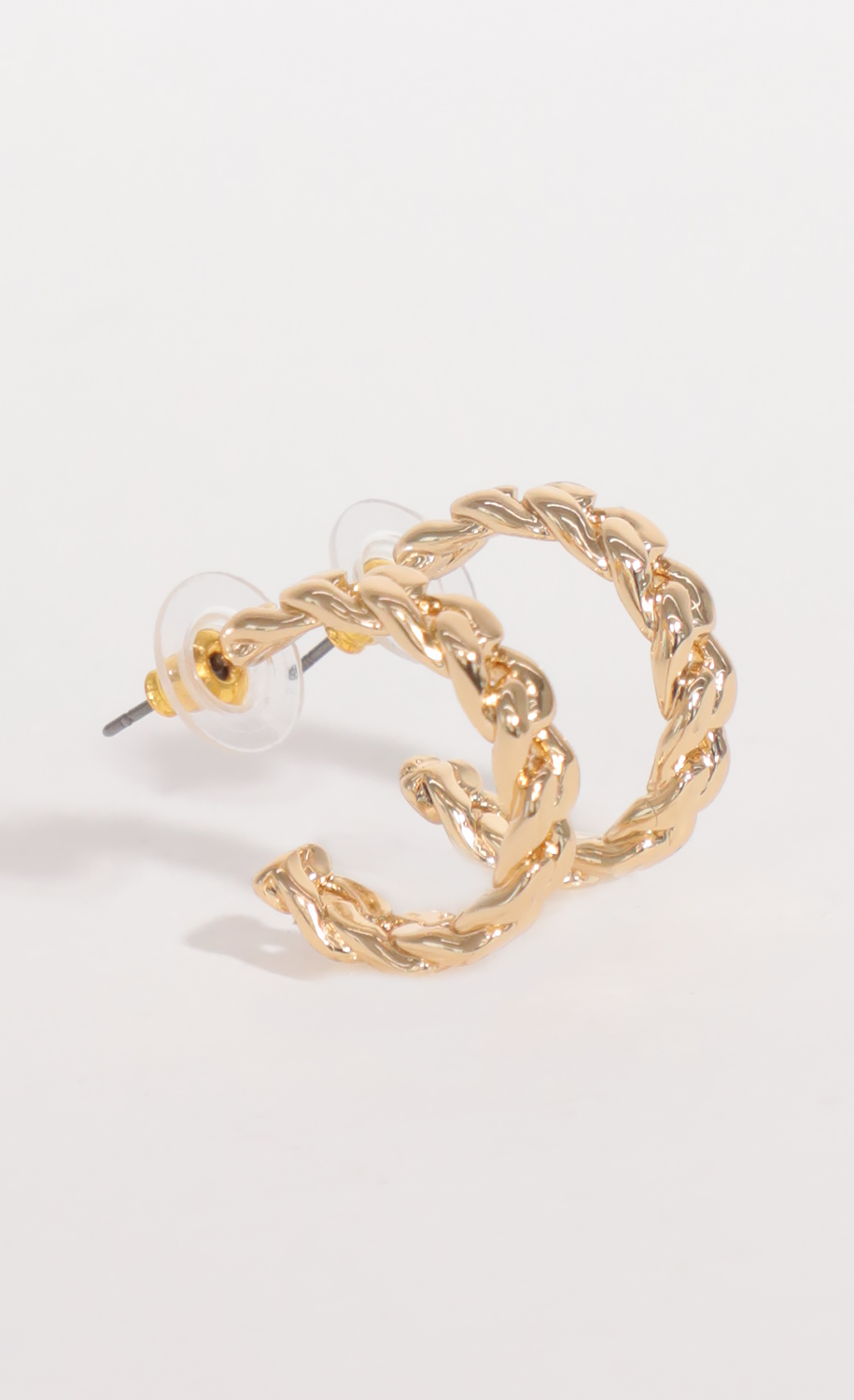 Cuban Chain Link Hoops in Gold