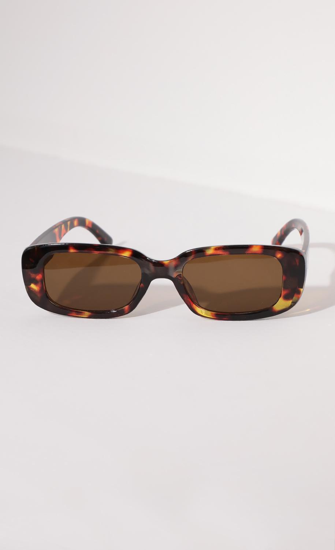 Beverly Rectangular Retro Sunglasses in Brown Tortoise