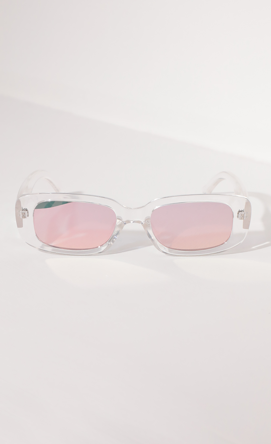 Beverly Rectangular Retro Sunglasses in Clear with Pink Lenses