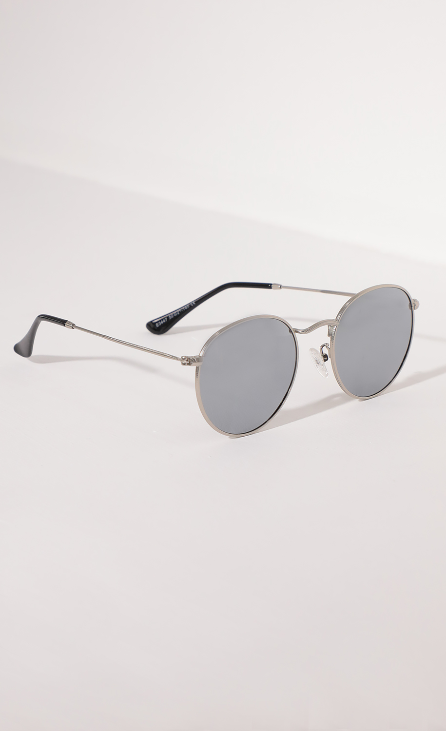 Jessica Round Trim Sunglasses in Silver and Mirrored Lenses