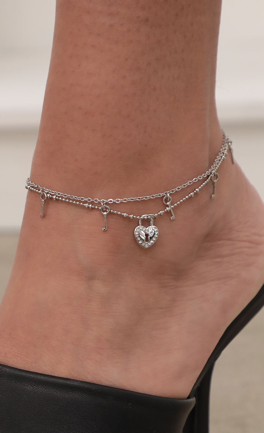 Heart Lock and Key Anklet
