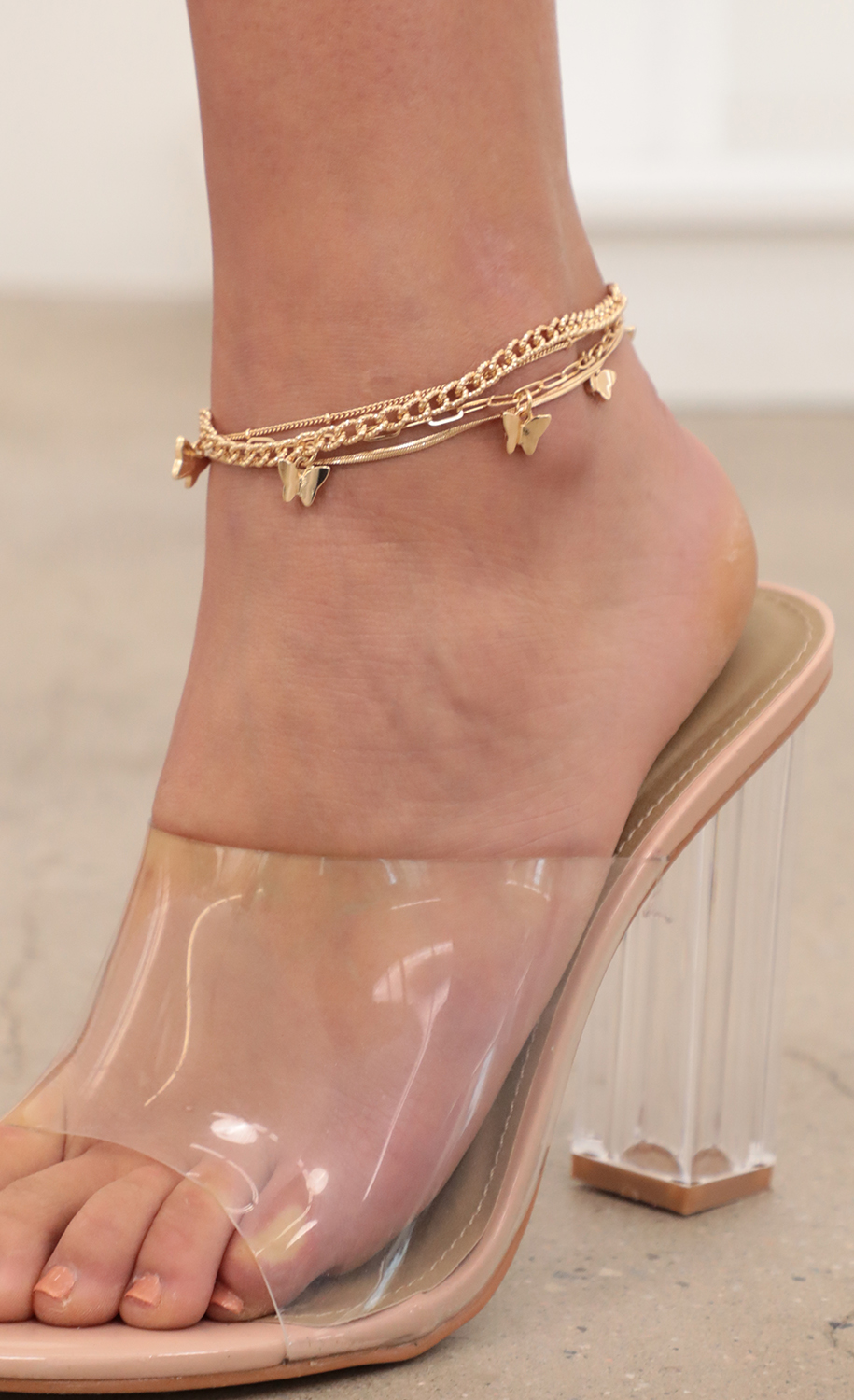 Dainty Layered Butterfly Chain Anklet