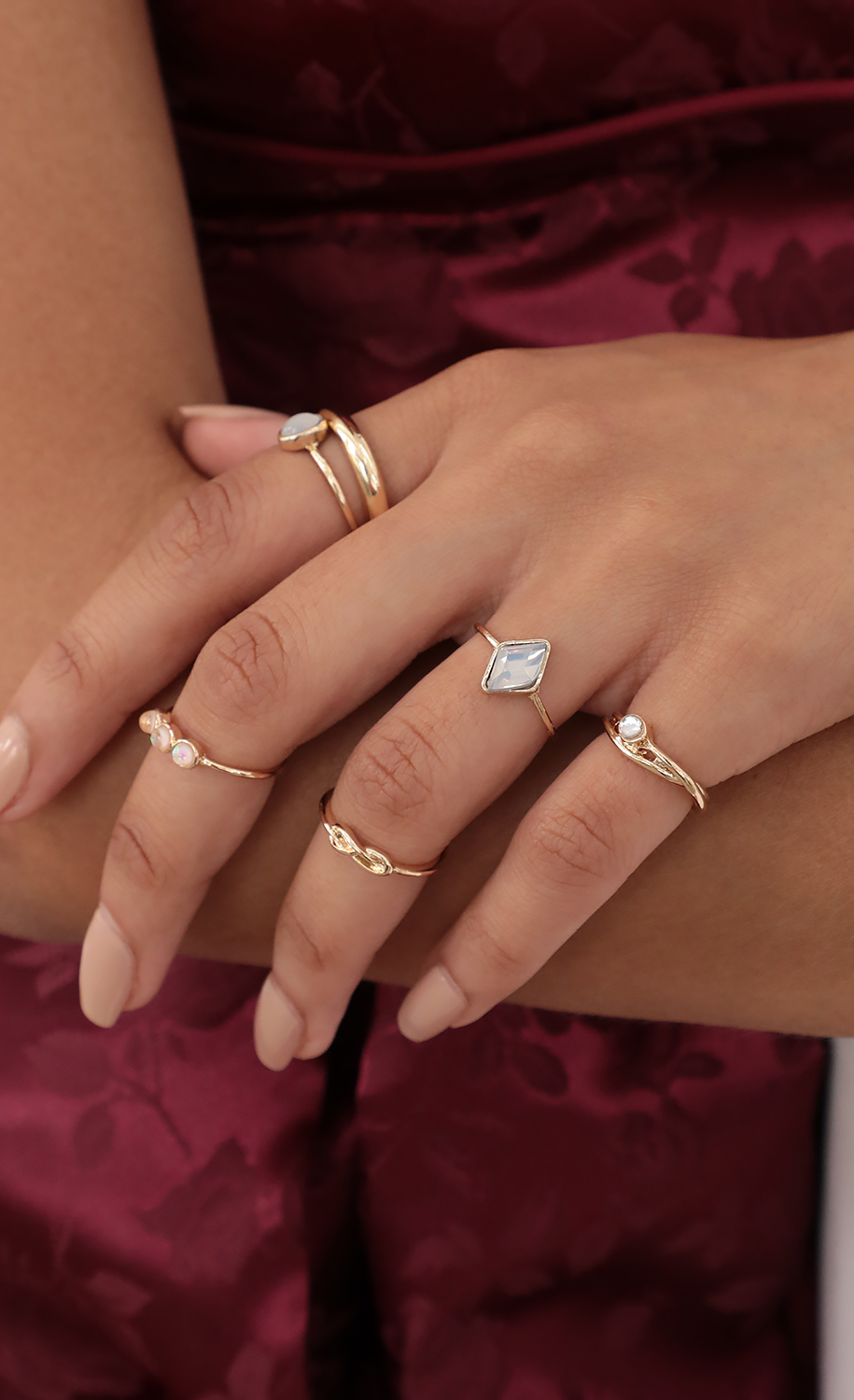 Moonstone 7 Piece Ring set