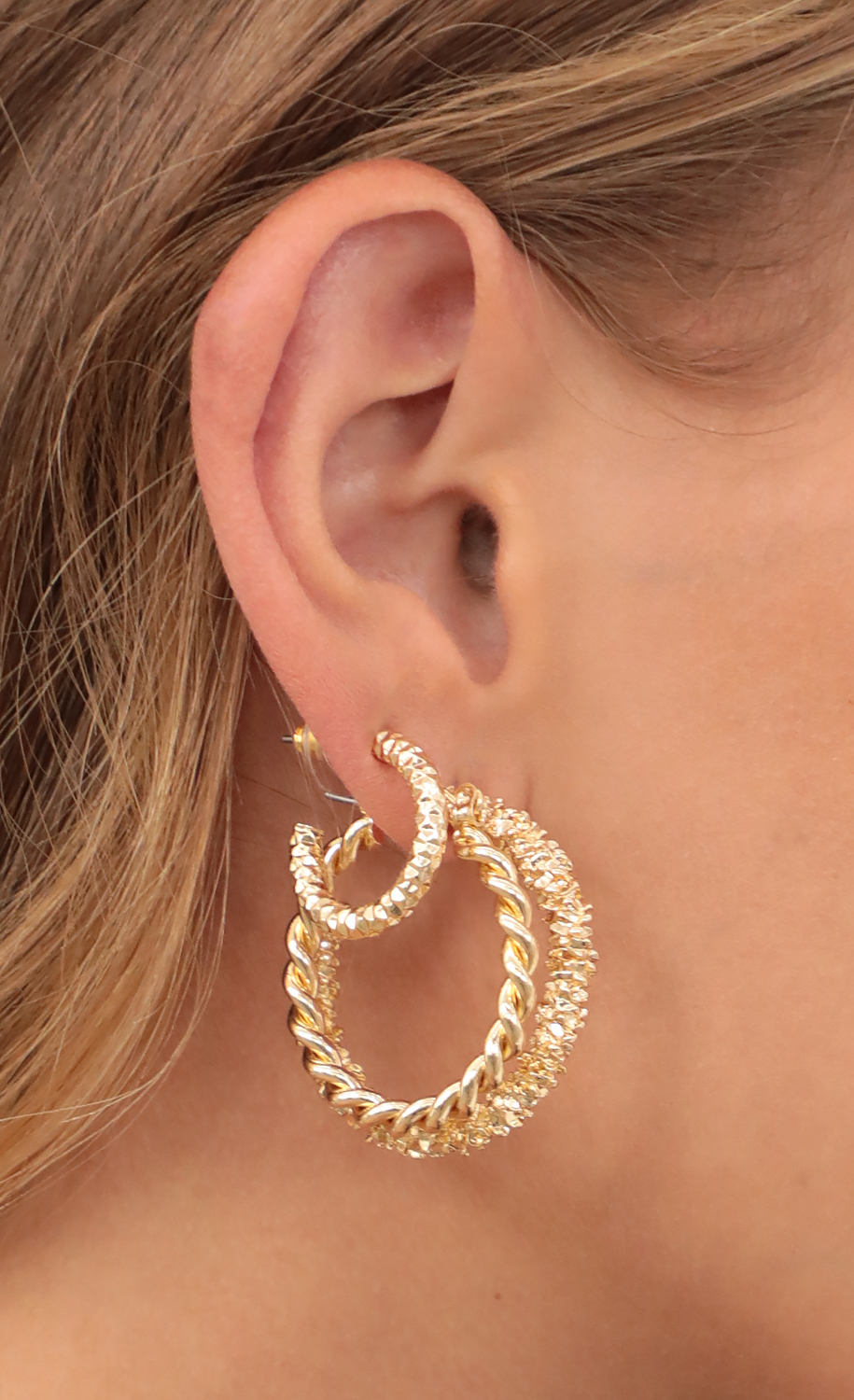 Three Pair Hoop Set in Gold