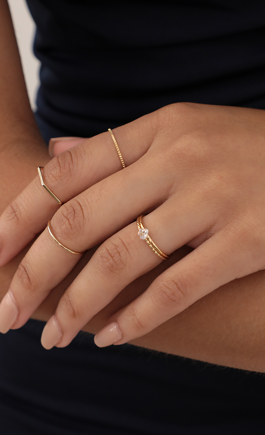 Dainty Heart Ring Set