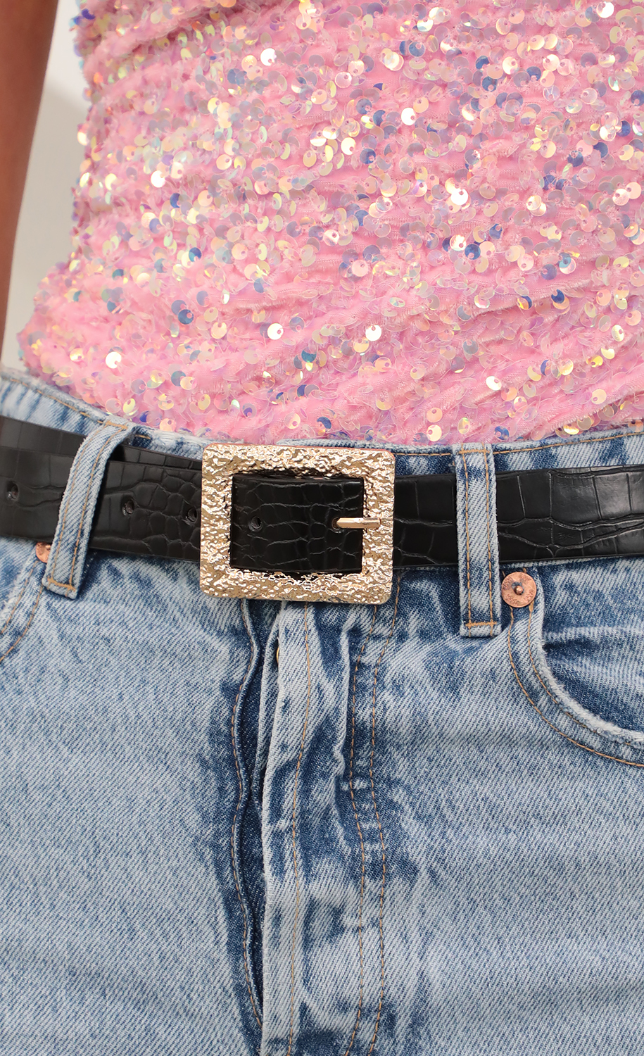 Textured Croc Belt in Black