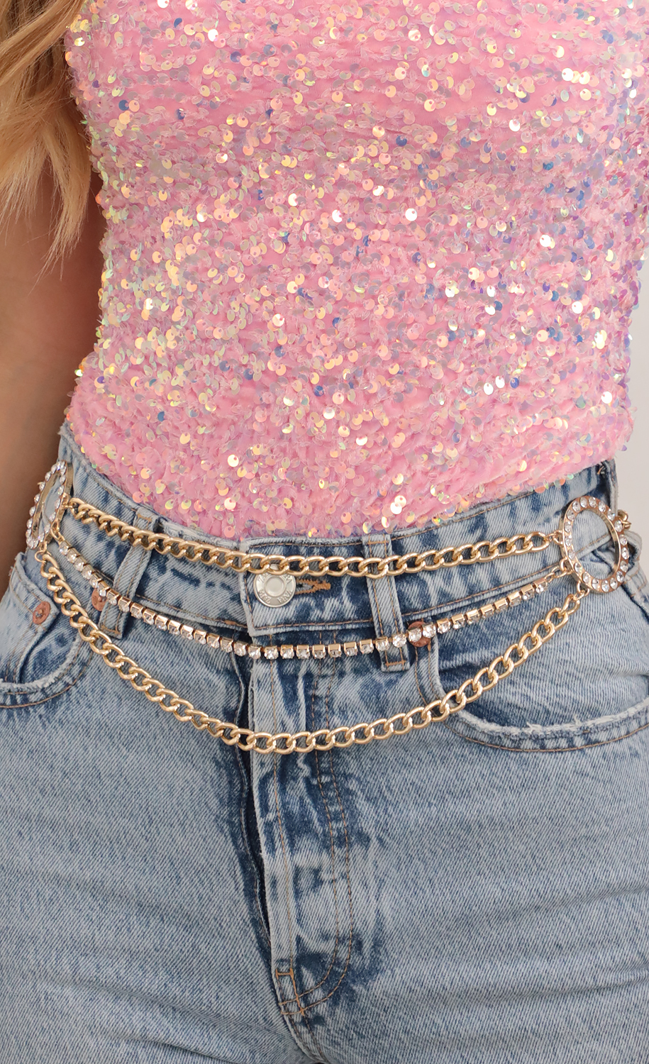 Embellished Chain Layered Belt