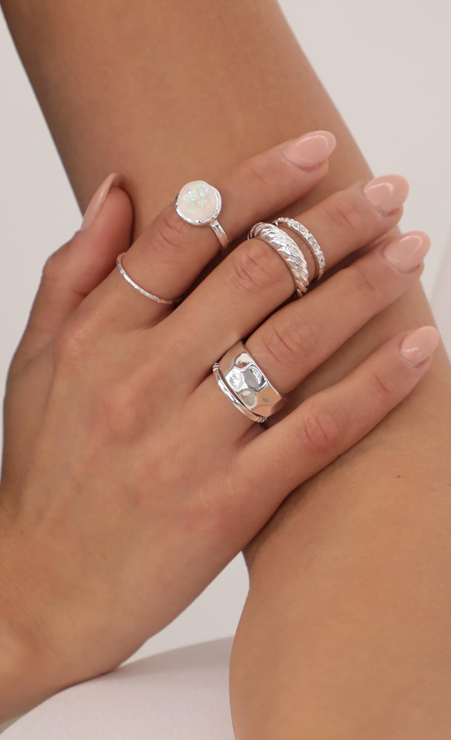 5 Piece Trendy Ring Set in Silver