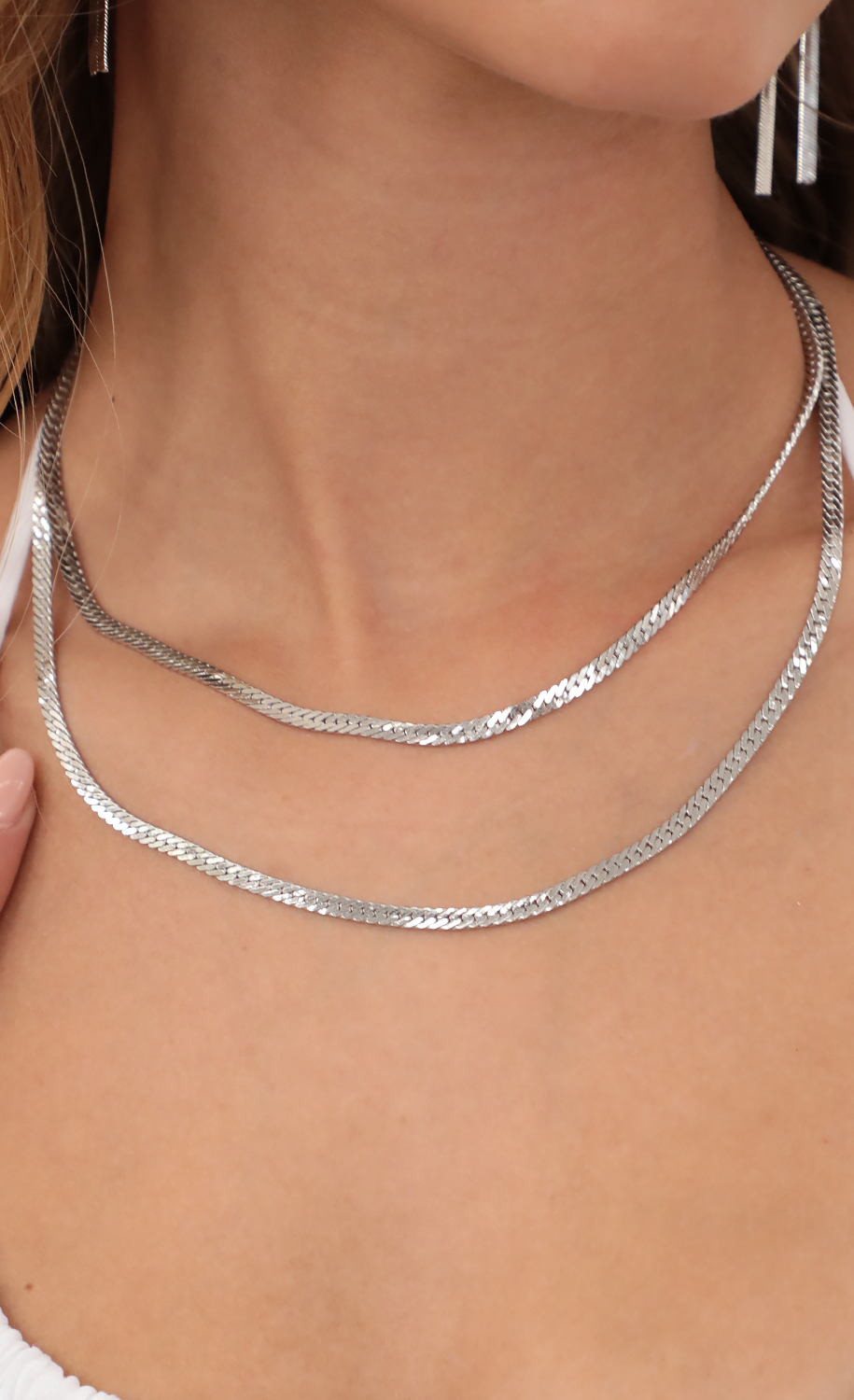 Snake Duo Silver Chain Necklace