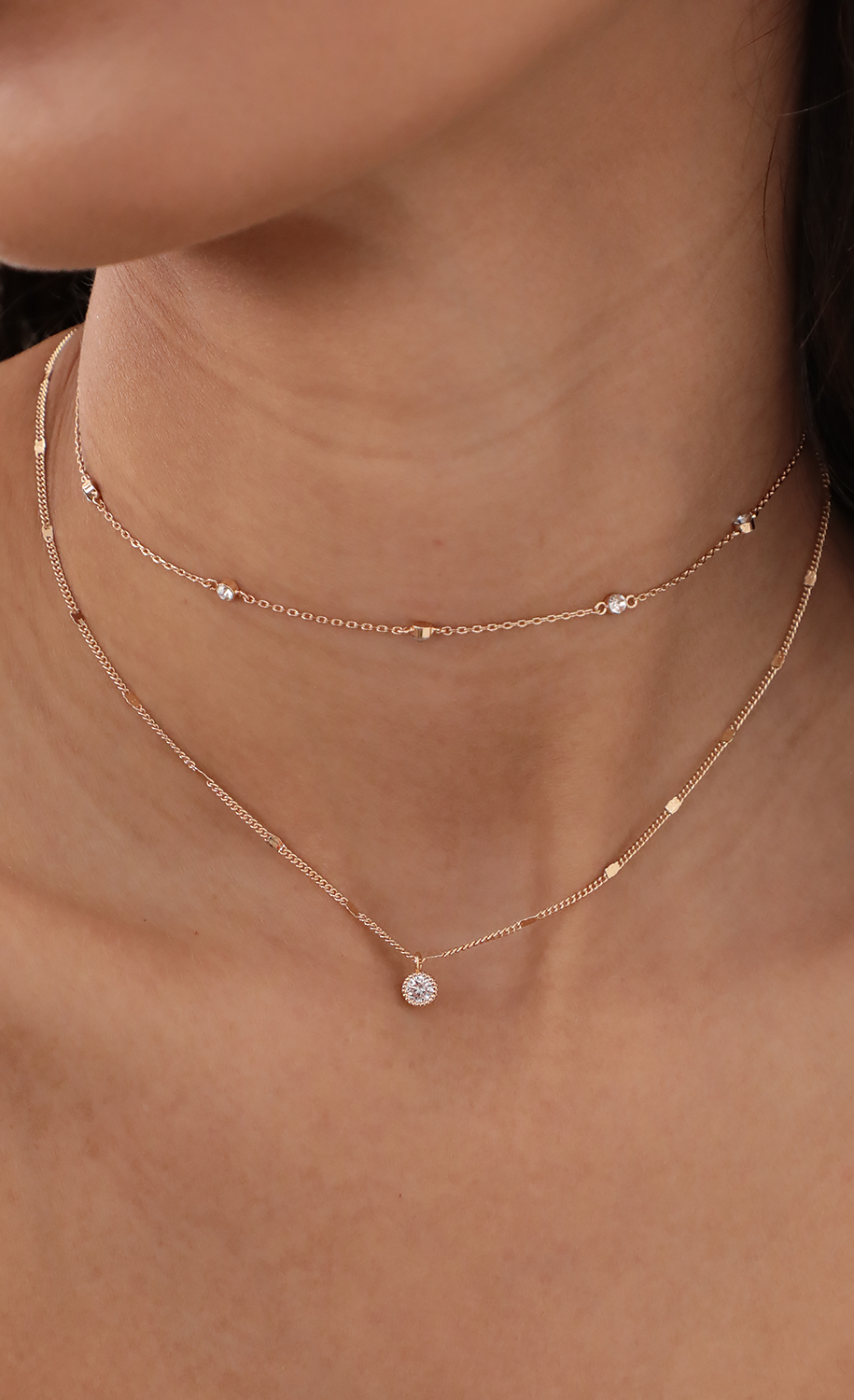 Klhoe Double Layered Crystal necklace Set
