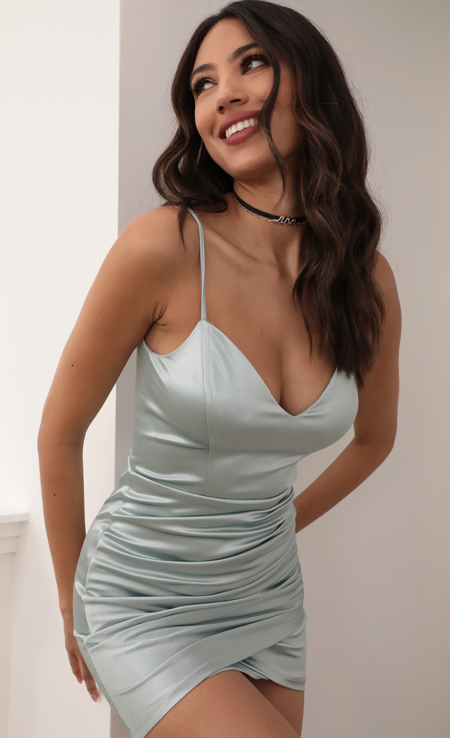 Jo Draped Bodycon Dress in Sage