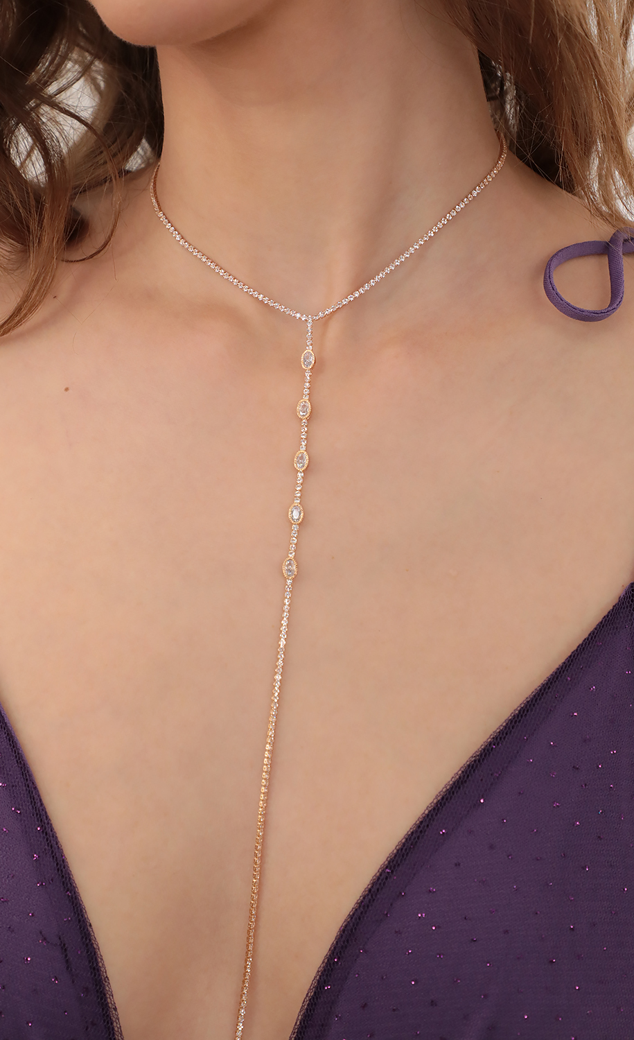 Crystal Lariat Necklace in Gold