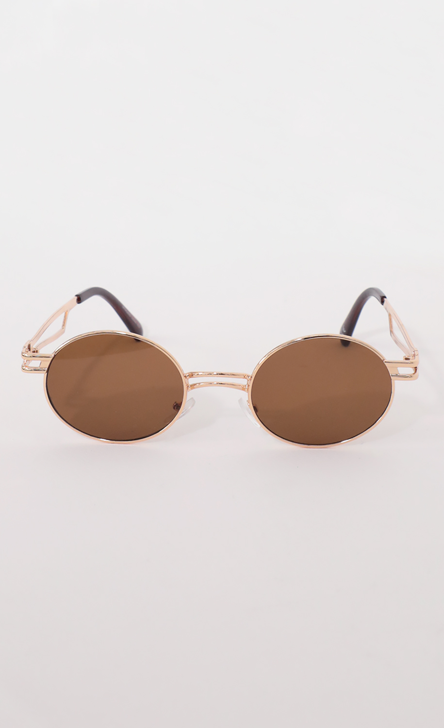 Metal Double Temple Accent Oval Round Gold Sunglasses in Brown