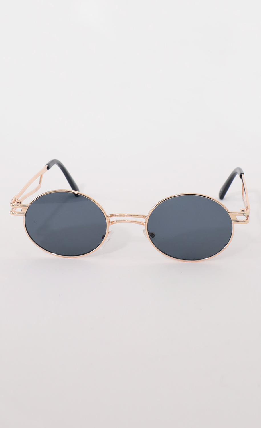 Metal Double Temple Accent Oval Round Gold Sunglasses in Smoke