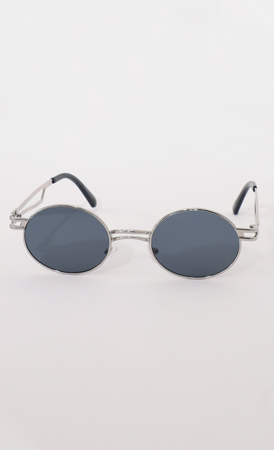 Metal Double Temple Accent Oval Round Silver Sunglasses in Smoke