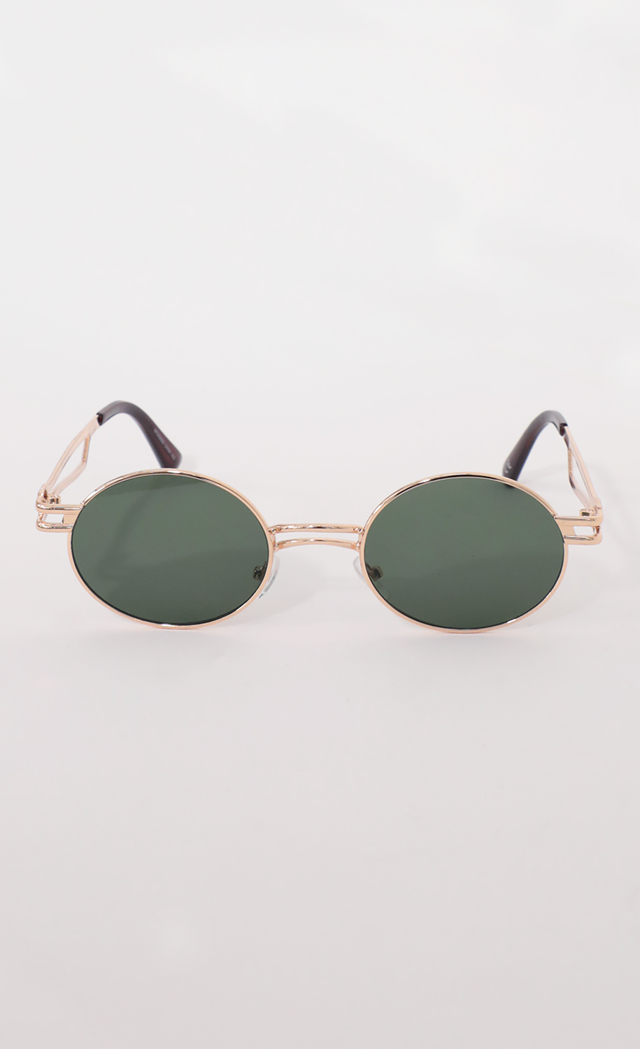 Metal Double Temple Accent Oval Round Gold Sunglasses in Green