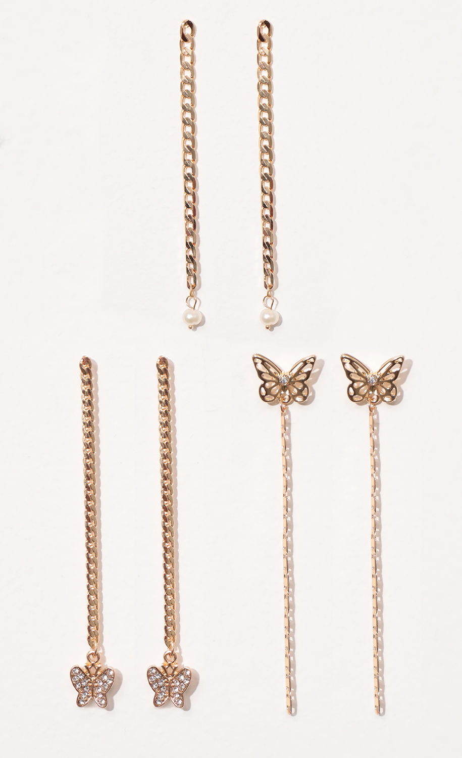 Trio of Butterfly Chain Drop Earring Set