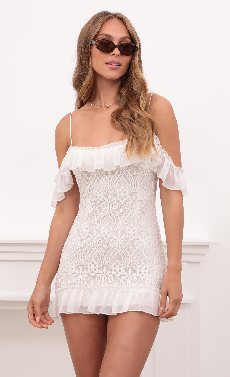 Clemence Off The Shoulder Ruffle Dress in White Lace